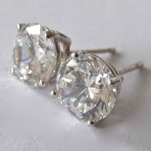 14K White Gold CZ Solitaire Post Earrings 3.5 Cts